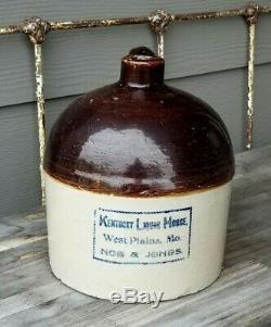 Kentucky Liquor House West Plains MO Missouri Noe & Jones Stoneware Crock Jug