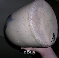 LYONS NY 2 gal Jug with Cobalt Blue Flower Stoneware Crock