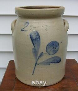 LYONS NY Stoneware Crock w Cobalt Flower