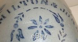 Large 19th C. 5 Gal. Hamilton & Jones Stoneware Crock with Blue
