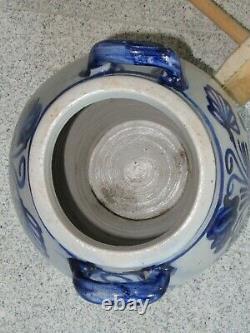 Large antique stoneware butter churn with salt glaze around 1840
