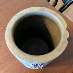 Lehew & Co Strasburg Virginia Antique Blue Decorated Crock Stoneware as is
