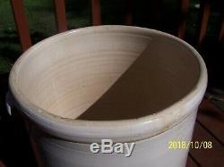 Lowell Stoneware Illinois 15 Gallon Crock Cooler Jar Rare Bail Handles and Drain