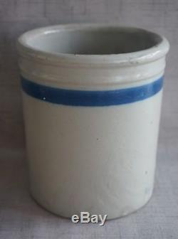 MAY'S GROCERIES Kingsley, IA BEATER JAR Blue Decorated Stoneware Red Wing