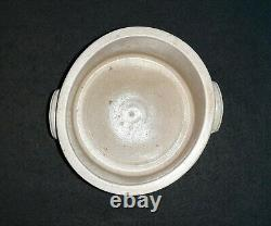 Miniature Stoneware Cake Crock Blue Cobalt Handles Design Sample Size Pottery