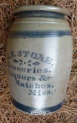 NATCHEZ Mississippi Groceries Liquors c1870s antique stoneware crock whiskey jug