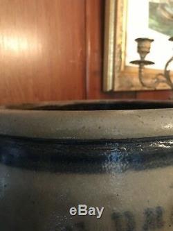 NEVER SEEN! Rare Decorated Cobalt J. G. Brown Webster PA Stoneware 2 Gal. Crock