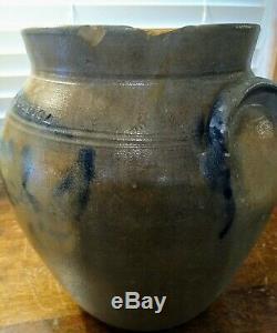 N White Utica Antique Handled Salt Glaze Stoneware Crock Cobalt Blue Decoration