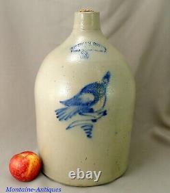 New York Stoneware bird Crock c. 1870