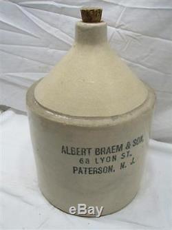 Nice Antique Albert Braem & Son Paterson NJ Stoneware Jug Crock Lyon St