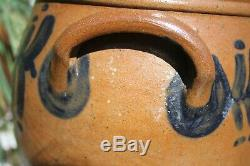 OVOID 2 Gal. CROCK w- LUG HANDLES Blue Decorated Stoneware Probably Phila. PA