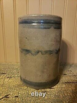 Pa Striper Stovepipe Crock Primitive A Small Size Salt Glaze Stoneware