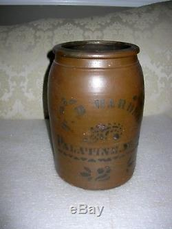 Palatine West Virginia Stoneware 2 Gallon Crock T. D. Harden
