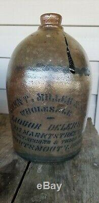 Portsmouth Ohio River John Miller Stoneware Jug crock OH Merchant Scioto County