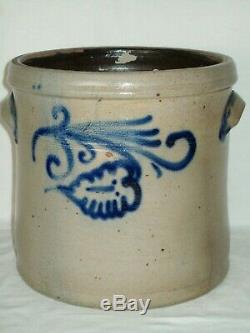 Primitive 2 Gallon Stoneware Pottery Crock With Two Sided Cobalt Blue Design