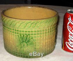 Primitive Antique Country Cow Dairy Farm Sunflower Stoneware Crean Butter Crock