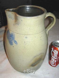Primitive Antique Country Dairy Farm Art Clover Slip Stoneware Pitcher Crock