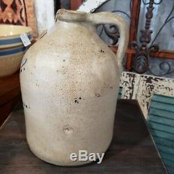 Primitive Stoneware Crock Jug, Nice Quality And Graphics. Kysler Utica Imprint