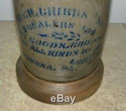RARE 1875 Verona PA Stoneware Merchant Advertising Crock CRIBBS & SON Groceries