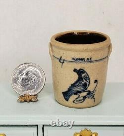 RARE 1983 ALBANY NY Jane GRABER Stoneware Bird Crock Dollhouse Miniature IGMA