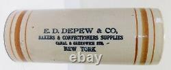 RARE 3 Color Advertising Rolling Pin E D DEPEW Bakers NY Western Stoneware
