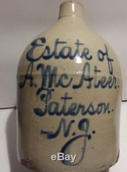 RARE ANTIQUE ESTATE A McATEER PATERSON NJ BLUE SCRIPT 1 GAL CROCK JUG STONEWARE