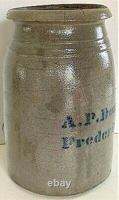RARE A. P. DONAGHHO, FREDERICKTOWN, PA 1/2 GAL. STONEWARE CANNING JAR ca. 1870