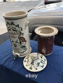 RARE Antique Art Nouveau BERKEFELD Water Filter Stoneware Crock/Cooler WithBIRDS