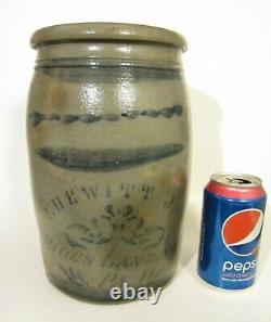 RARE Antique ISAAC HEWITT RICES LANDING PA Stoneware Stenciled Blue 1G Crock Jar