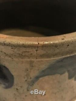 RARE Antique John Bell Pa. Blue Decorated Stoneware Pottery Signed