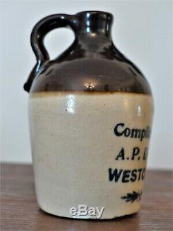 RARE Antique MINIATURE Advertising Whiskey STONEWARE JUG Crock DOPPLER Weston MO