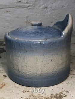 RARE Antique Native American Indian Peace Whirling Log Salt Glazed Butter Crock