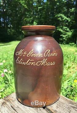 RARE Antique Oyster Jug Stoneware Crock Brown McGown Bros Clinton MA