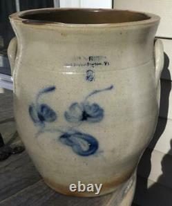RARE Antique Stoneware 2 Gal Norton & Fenton East Bennington VT Crock Cobalt Dec