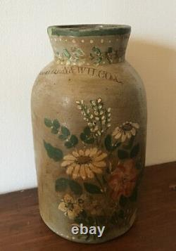 RARE! Antique Stoneware Crock COWDEN & WILCOX Jar Vase Painted Flower Unique