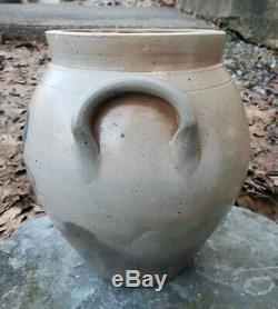 RARE Antique Stoneware Crock S. Blair Cortland NY Ovoid Blue Decorated c1840's