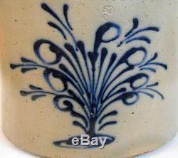 RARE Cobalt Decorated Stoneware Crock Flowering Tree Bush 3 Gallon