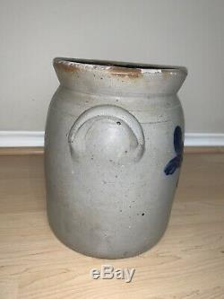 RARE! Cortland, NY Stoneware Preserve Crock att. Madison Woodruff (1849-1885)