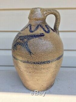 RARE Primitive Salt Glazed Stoneware Jug With Colbalt Fish Detailed Decoration