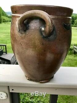 RARE THOMAS COMMERAW STONEWARE OVOID ca. 1815 DECORATED AND MARKED CORLEARS HOOK