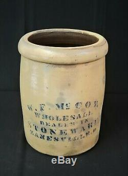 RARE W. F. McCoy 1-1/2 gallon Stoneware Crock FREE SHIPPING