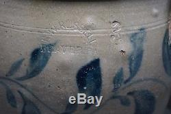 R. W. Russell BEAVER, PA Blue Decorated Stoneware 3 GALLON CROCK 11 1/4 Tall