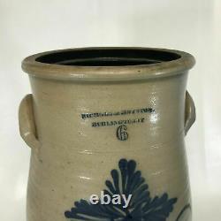 Rare 19th C Nichols & Boynton Burlington VT Stoneware Butter Churn 6 Gallon