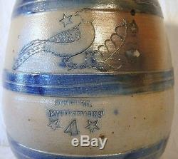 Rare 19th C. Stoneware Water-Cooler 4 Gal Somerset Potters Works MA Incised Bird