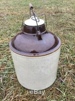 Rare 20th Western Stoneware Canning Crock With LID Honey Crock Make Me A Offer