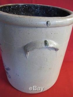 Rare ANTIQUE 5 Gallon STONEWARE CROCK Cobalt Eagle SALT GLAZED POTTERY