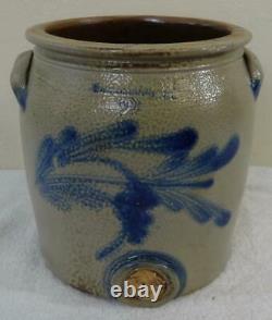 Rare Antique 2. Gal. Cowden Wilcox Stoneware Water Cooler Cobalt Blue Decoration