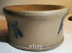 Rare Antique Grey Stoneware Spittoon Painted Blue Floral Sides Weighs Over 5 Lbs