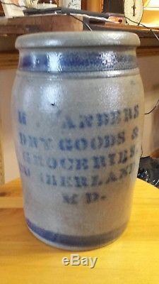 Rare Antique Sanders Stoneware Crock Cumberland MD Dry Goods Groceries