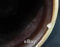 Rare Antique Stoneware 3 Gal. Water Cooler Decorated in Cobalt Script WOW